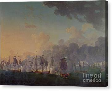The Battle Of Louisbourg On The 21st July 1781 Canvas Print by Auguste Rossel De Cercy