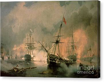 The Battle Of Navarino Canvas Print by Ivan Konstantinovich Aivazovsky
