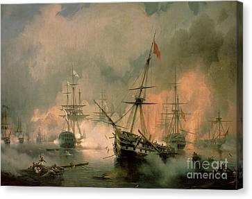 The Battle Of Navarino Canvas Print by Ivan Konstantinovich Aivazovsky