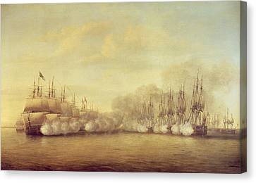 The Battle Of Negapatam Canvas Print by Dominic Serres