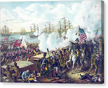 The Battle Of New Orleans Canvas Print by American School
