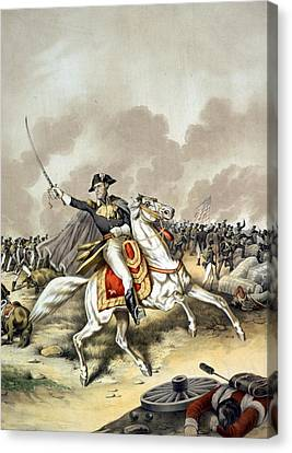 The Battle Of New Orleans With President Andrew Jackson Standing At The Front Of The American Flag W Canvas Print by American School
