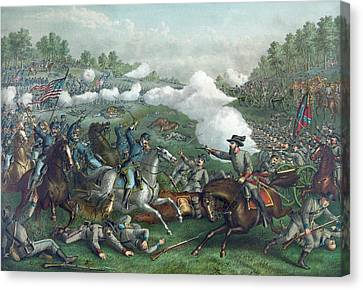 The Battle Of Opequan Canvas Print by American School