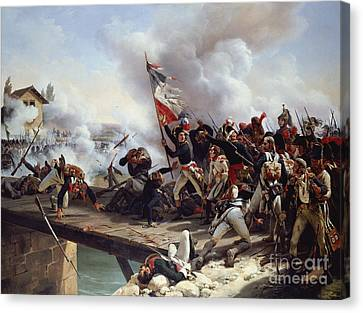 The Battle Of Pont D'arcole Canvas Print by Emile Jean Horace Vernet
