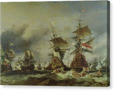 The Battle Of Texel Canvas Print by Louis Eugene Gabriel Isabey