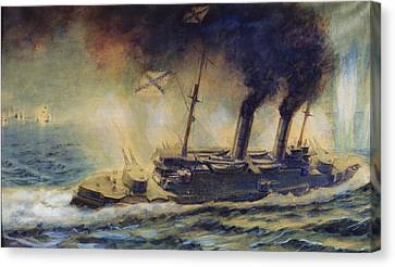 The Battle Of The Gulf Of Riga Canvas Print by Mikhail Mikhailovich Semyonov