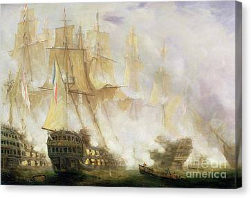 The Battle Of Trafalgar Canvas Print by John Christian Schetky