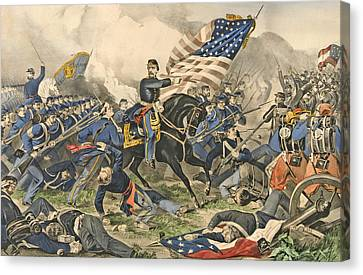 Williamsburg Canvas Print - The Battle Of Williamsburg, Va by Currier and Ives