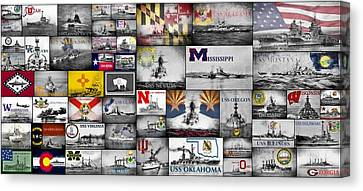 The Battleships Of All 50 States Canvas Print by JC Findley