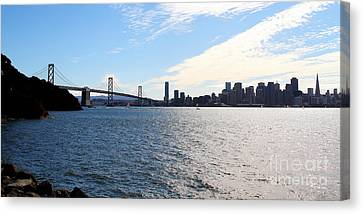 The Bay Bridge And The San Francisco Skyline Viewed From Treasure Island . 7d7771 Canvas Print by Wingsdomain Art and Photography