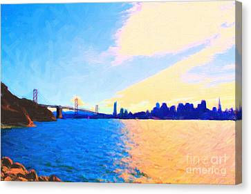 The Bay Bridge And The San Francisco Skyline Canvas Print by Wingsdomain Art and Photography