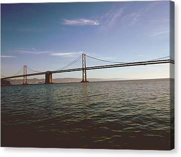 Canvas Print featuring the mixed media The Bay Bridge- By Linda Woods by Linda Woods