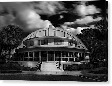 The Bay Front Community Center Bw Canvas Print by Marvin Spates