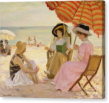 Reading Canvas Print - The Beach by Alfred Victor Fournier