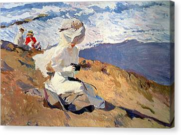 Windswept Canvas Print - The Beach At Biarritz by Joaquin Sorolla