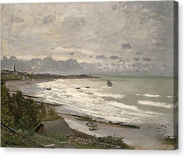 The Beach At Sainte Adresse Canvas Print by Claude Monet