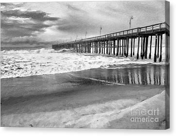 Ocean Canvas Print - The Beach Pier by David Millenheft
