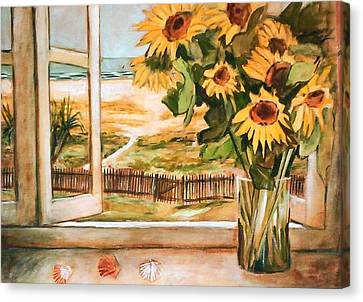 Canvas Print featuring the painting The Beach Sunflowers by Winsome Gunning