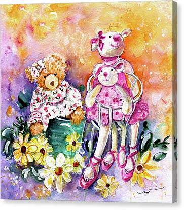 The Bear And The Ballerinas In York Canvas Print