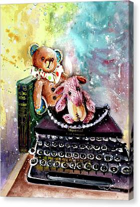 The Bear And The Sheep And The Typewriter From Whitby Canvas Print by Miki De Goodaboom