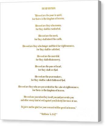 Gospel Of Matthew Canvas Print - The Beatitudes Gospel Of Matthew by Rose Santuci-Sofranko