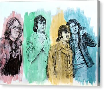 The Beatles, 1968, Mixed Media Canvas Print by Ron Enderland