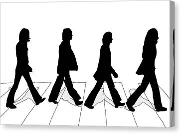 The Beatles Abbey Road Silhouette Drawing Canvas Print by Anthony Timmons