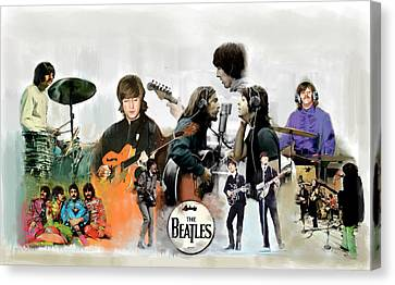 Canvas Print featuring the painting The Beatles Fabs by Iconic Images Art Gallery David Pucciarelli