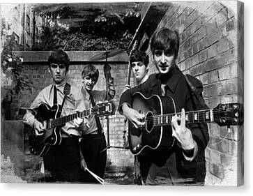 The Beatles In London 1963 Black And White Painting Canvas Print by Tony Rubino