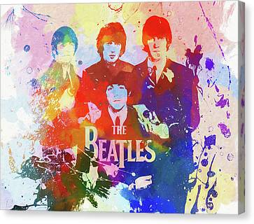 The Beatles Paint Splatter  Canvas Print by Dan Sproul