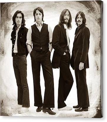 The Beatles Painting Late 1960s Early 1970s Sepia Canvas Print by Tony Rubino
