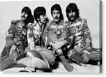 The Beatles Sgt. Pepper's Lonely Hearts Club Band Painting 1967 Black And White Canvas Print by Tony Rubino