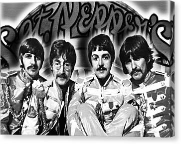 The Beatles Sgt. Pepper's Lonely Hearts Club Band Painting And Logo 1967 Black And White Canvas Print by Tony Rubino