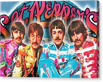 The Beatles Sgt. Pepper's Lonely Hearts Club Band Painting And Logo 1967 Color Canvas Print by Tony Rubino