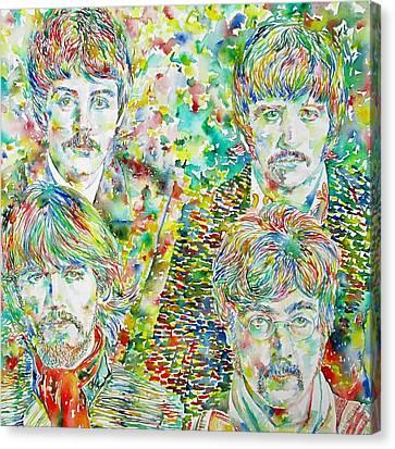 The Beatles - Watercolor Portrait.1 Canvas Print by Fabrizio Cassetta