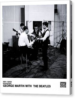 The Beatles With George Martin At Abbey Road. Canvas Print