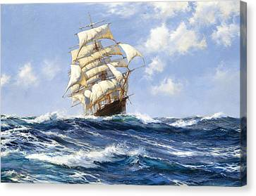 Seafarer Canvas Print - The Beautiful Melbourne Clipper Oberon Running For Home Before The Wind by Montague Dawson