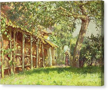 The Bee Keeper Canvas Print by Emile Claus