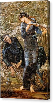 The Beguiling Of Merlin Canvas Print - The Beguiling Of Merlin by dward Burne