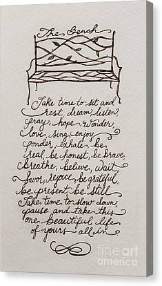 The Bench Canvas Print by Elizabeth Robinette Tyndall