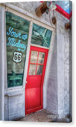 The Bent Door On Historic Route 66 Canvas Print