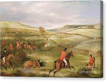 The Berkeley Hunt, 1842 The Chase  Canvas Print by Francis Calcraft Turner