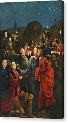 The Betrayal And Arrest Of Christ Canvas Print by The Master of the Dreux-Bude Triptych