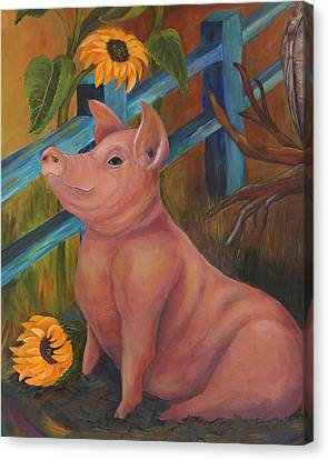 The Better Life - Pig Canvas Print by Debbie McCulley