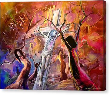 The Bible Crucifixion Canvas Print by Miki De Goodaboom