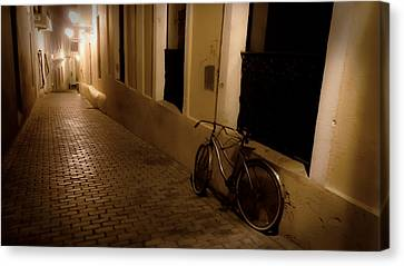 Wrought Iron Bicycle Canvas Print - The Bicycle And The Brick Road by DigiArt Diaries by Vicky B Fuller
