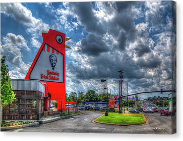 Canvas Print featuring the photograph The New Big Chicken Hwy 41 Cobb Parkway Art by Reid Callaway
