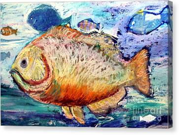 Canvas Print featuring the painting The Big Fish by Diane Ursin