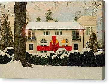 Decorated For Christmas Canvas Print - The Big Red Bow by Diana Angstadt