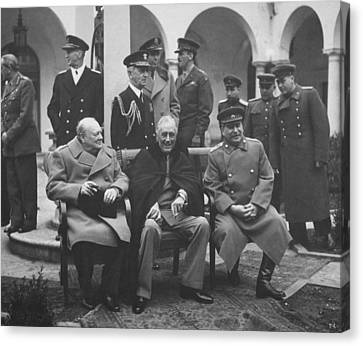 Fdr Canvas Print - The Big Three -- Ww2 Leaders by War Is Hell Store